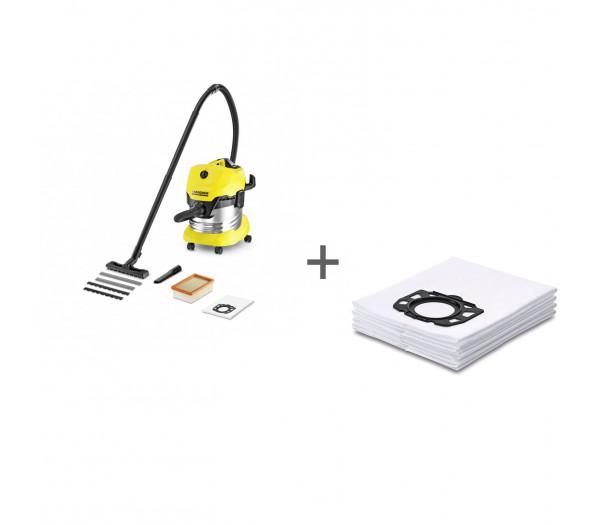 Пылесос хозяйственный Karcher WD 4 Premium + Фильтр-мешки (4 шт) в подарок!