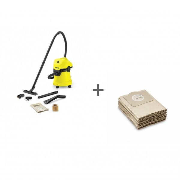Пылесос хозяйственный Karcher WD 3 Car + Фильтр-мешки (5 шт) в подарок!