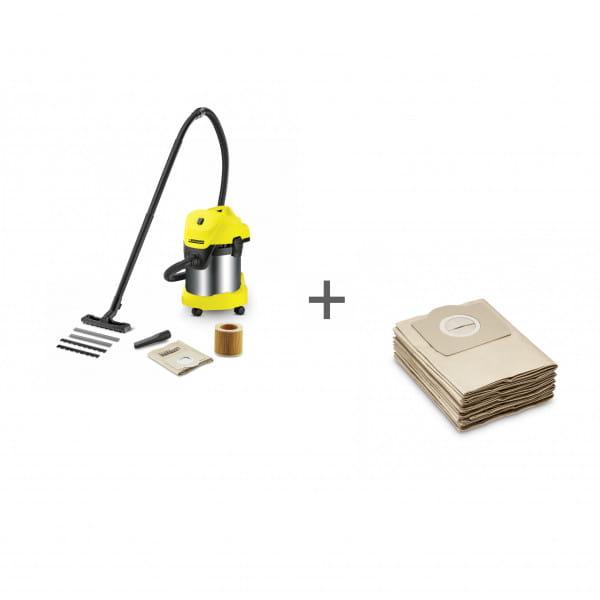 Пылесос хозяйственный Karcher WD 3 Premium + Фильтр-мешки (5 шт) в подарок!